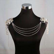 Fashion rhinestone di cristallo collana di cerimonia nuziale della spalla nuziale handmade delle donne del partito prom gioielli collane(China (Mainland))
