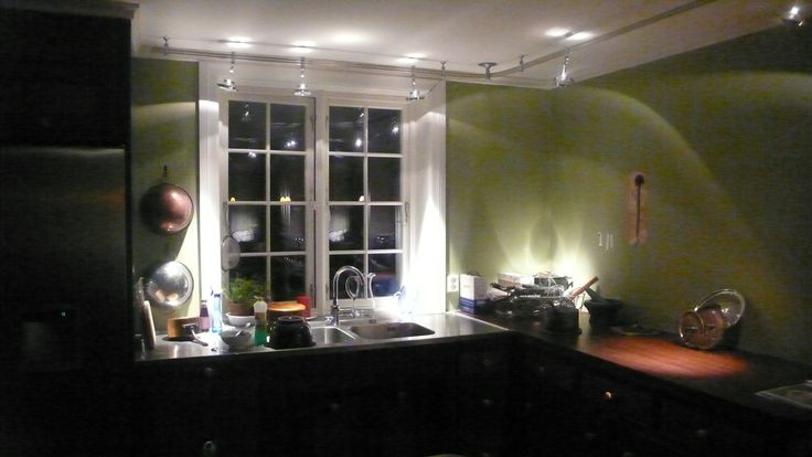 This is from my own kitchen when it was still in the making. QR111-spot lights highlight the countertop.