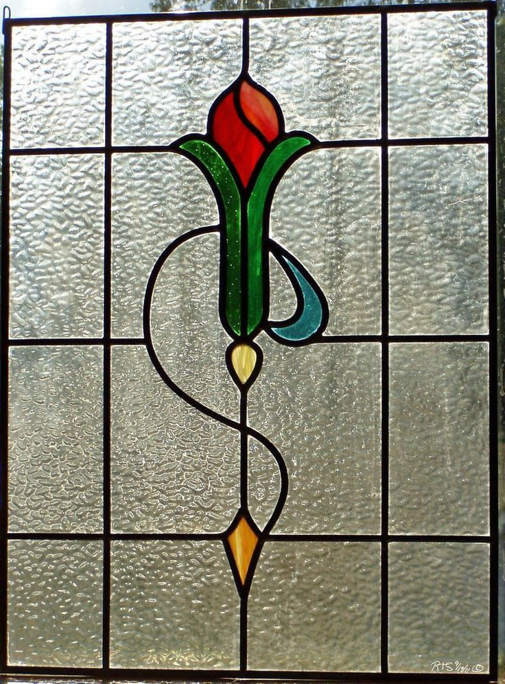 art deco stained glass patterns   New Leaded Art Deco Stained Glass Panel
