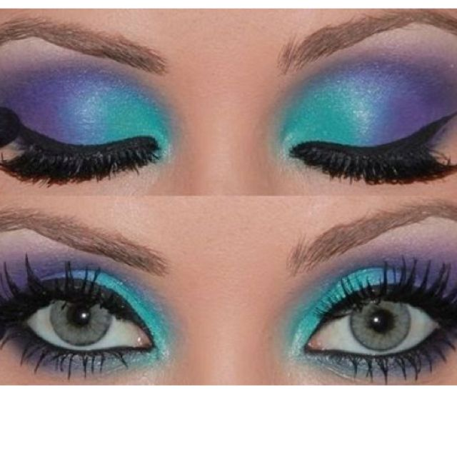 Since the caterpillar in Alice in Wonderland is purple, i decided to look for a makeup tutorial that has purple. I used the picture with blue because it makes the look more old and scary.