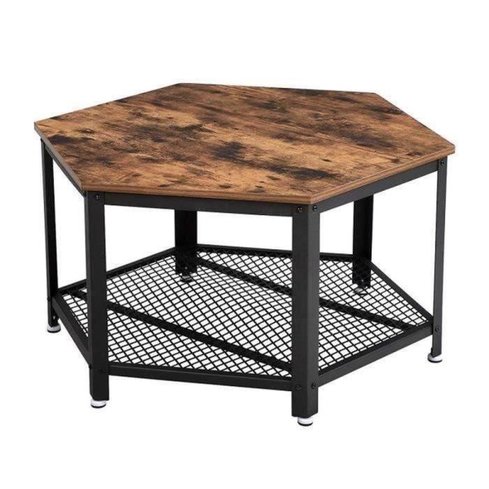 Vasagle Table Basse Vintage Table D Appoint Table De Salon Etagere De Rangement En Treillis Hexagonal Aspect Bois Lct16x Table De Salon Table Basse Vintage Table D Appoint