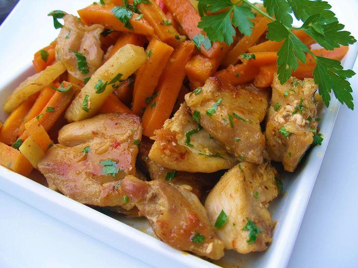 V kuchyni vždy otevřeno ...: Kořeněná mrkev s kedlubny a kuřecím masem