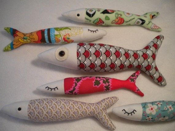 Stuffed fish - embroider the eyes before you cut and sew.