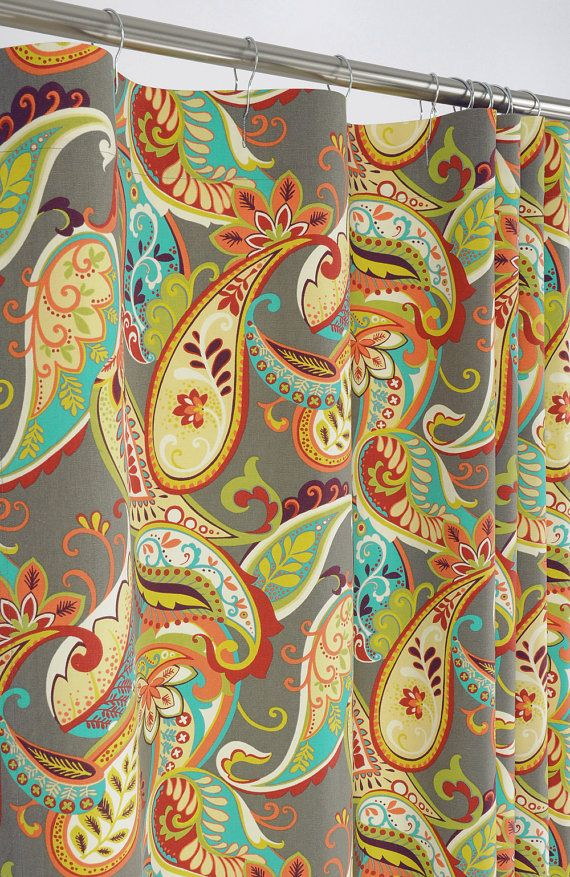 PAISLEY Shower Curtain 72 x 72 Gray Turquoise & by PondLilly