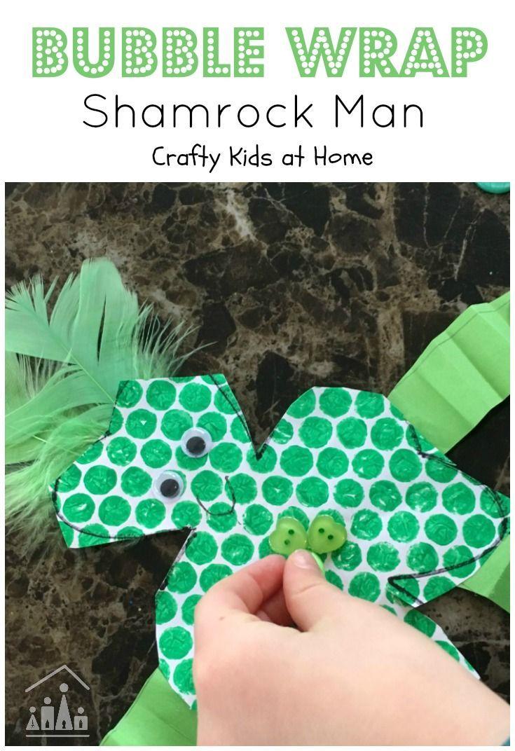 Add a fun new twist to a classic St Patrick's Day Kids Craft. Make a Bubble Wrap Shamrock Man.