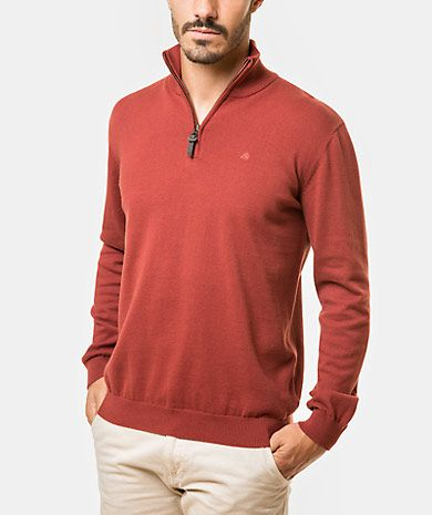 Cotton half zip sweater Homem Outono Inverno | QUEBRAMAR - Shop Online