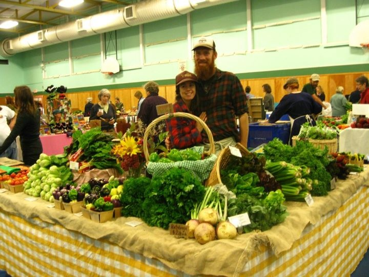 Happy vendors with their local produce | Lunenburg Farmers' Market