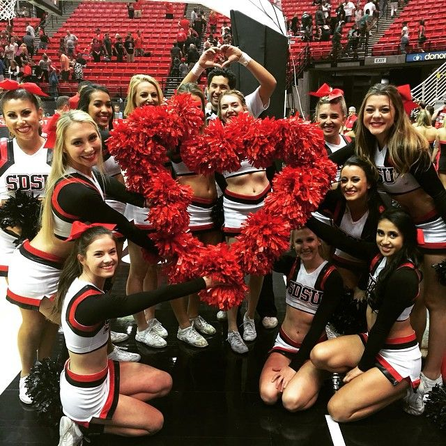 """@sdsucheer's photo: """"Our solid attempt at a heart of poms. Happy Valentine's Day! #sdsucheer #goaztecs"""""""