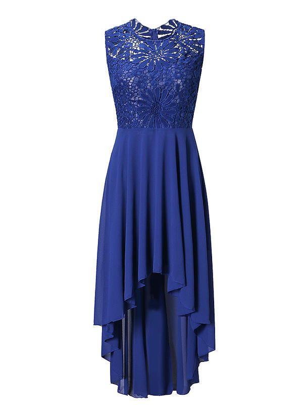 7f898238f8 Koronka Bez rękawów W kształcie litery A Asymetryczna Wintage Casual Elegancki  Sukienki (199230133)