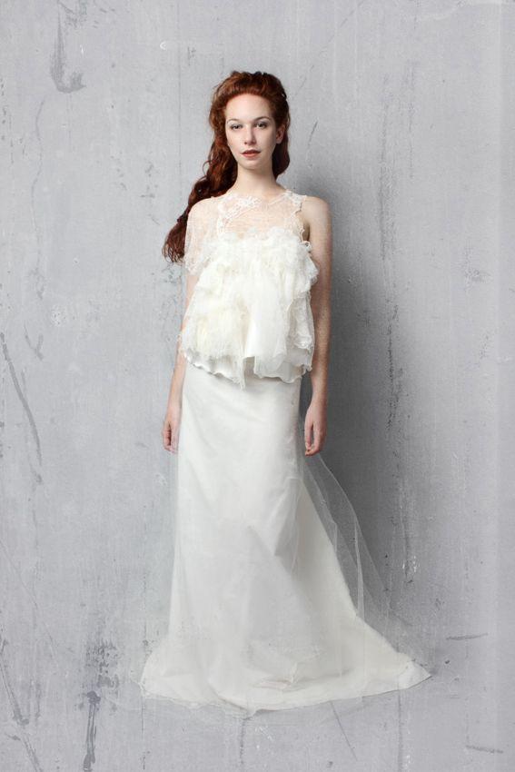 robe de mariée en dentelle et gaze de soie création Caroline Hanny