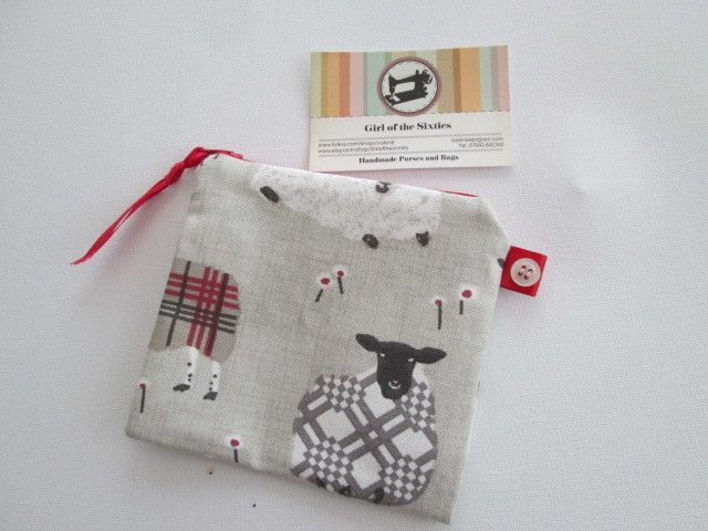 SALE Red Sheep  Coin Purse £2.50