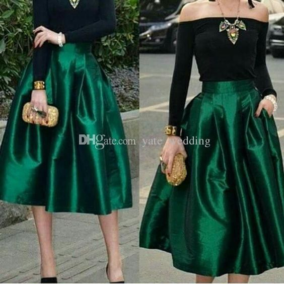 Dark Green Midi Röcke Für Frauen Hohe Taille Geraffte Satin Tee Länge Petite Cocktail Party Röcke Top Qualität Frauen Formelle Outfits   – Outfit