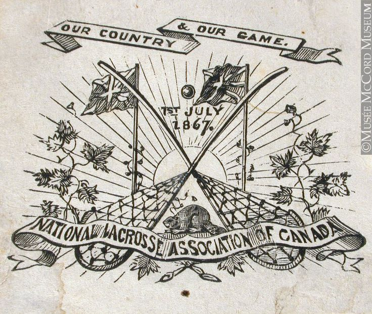 Today, 150 years ago, The National Lacrosse Association (predecessor to today's CLA) was founded in Canada.  The CLHoF web site has a multimedia timeline of Our Heritage ... use the web link to have a look! (Emblem of National Lacrosse Association of Canada by John Henry Walker © McCord Museum)
