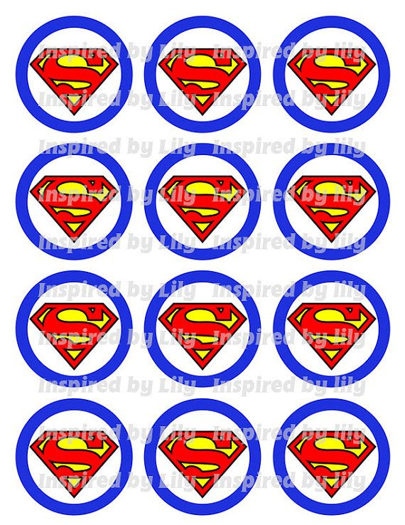 INSTANT DOWNLOAD Superman cupcake toppers by InspiredbyLilyMarie, $1.75