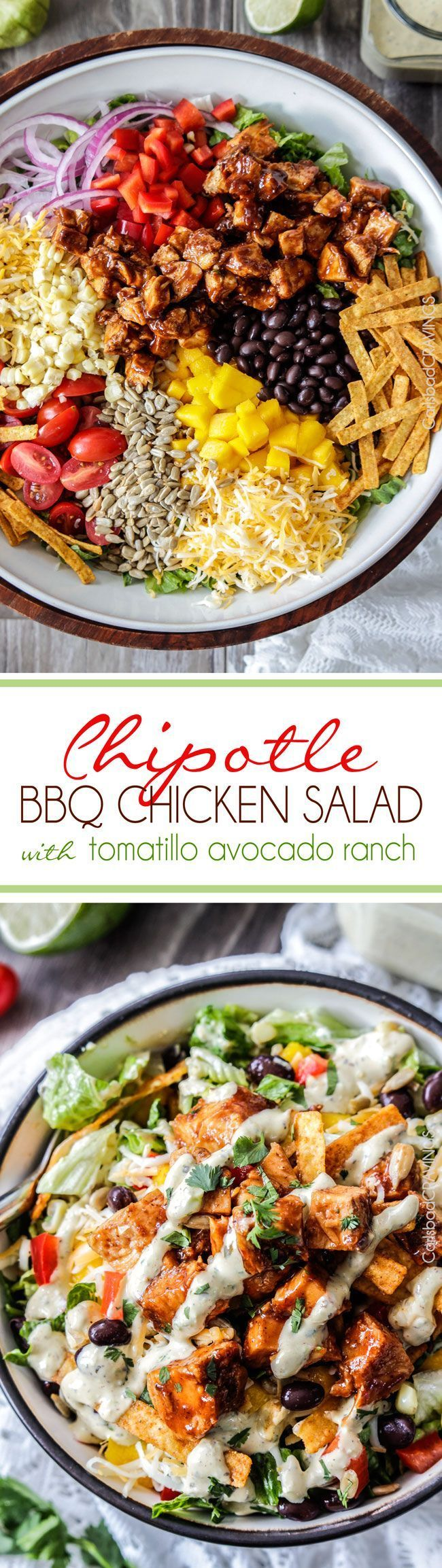 Chipotle BBQ Chicken Salad with 5 Minute Blender Tomatillo Avocado Ranch Dressing is WAY Better than your favorite restaurant salad at a fraction of the cost packed with crunchy veggies, crispy tortilla strips, tender barbecue chicken and the most intoxic
