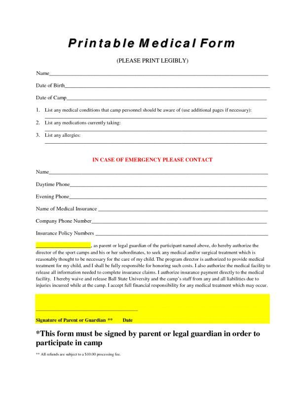 photo regarding Free Medical Forms identify Totally free Printable Health care Styles template