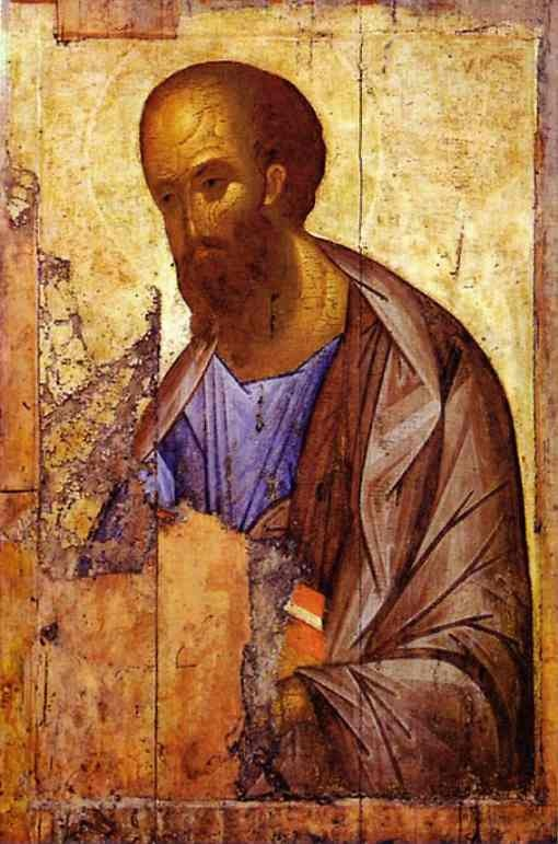Apostle Paul, by Rublev. Despite the fragmentary state of this, the power, simplicity and authority of this icon is inspiring.