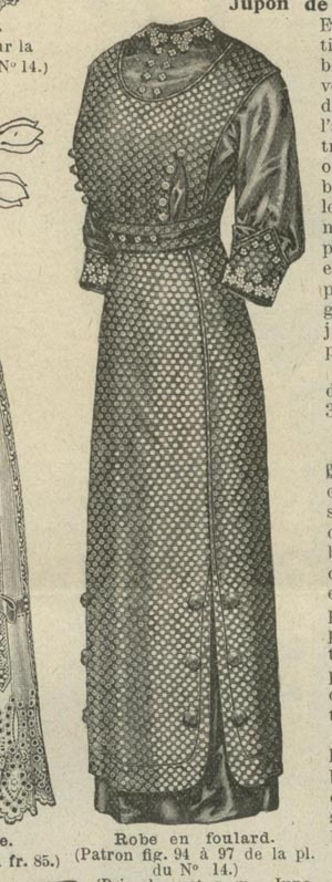 April 1912 Dress with buttoned slits
