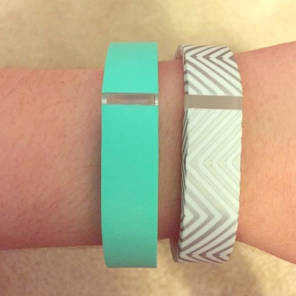 Fitbit Flex Bands Two Fitbit flex bands! No Fitbit included. Never used. One is silver/white chevron. Other is Tiffany blue. Very cute! i-Smile Accessories