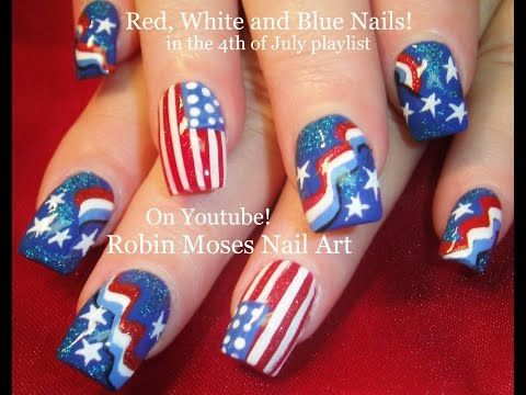 Nail Art Tutorial | DIY 4th of July Nails | Red White and Blue Flag Nail Design - YouTube