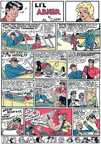 Li'l Abner is a satirical American comic strip that appeared in many newspapers in the United States, Canada and Europe, featuring a fictional clan of hillbillies in the impoverished mountain village of Dogpatch, Kentucky. Written and drawn by Al Capp (1909–1979), the strip ran for 43 years, from August 13, 1934 through November 13, 1977.
