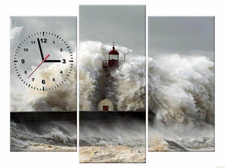 Zegar na płótnie 90x70 Latarnia OBRAZY Z ZEGAREM Galeria obrazów Art Verde