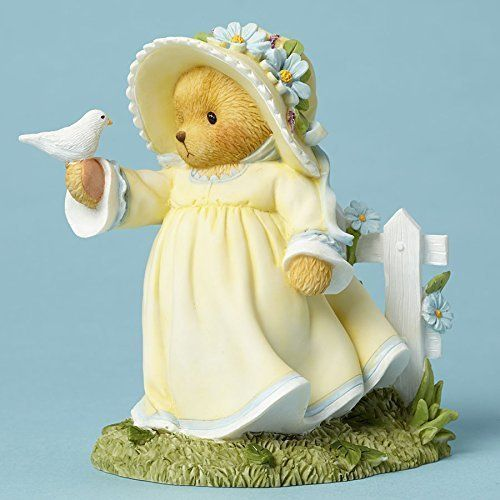 New Enesco Enesco Cherished Teddies Figurine, Holding Bird Fence