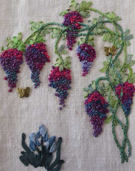 French knot grapes, ribbon embroidery