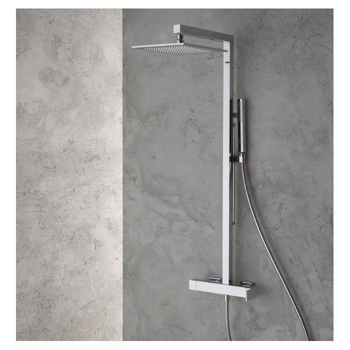 Colonne de douche externe QDesign 5660 (mitigeur, inverseur, tête de douche 25x25cm et douchette)