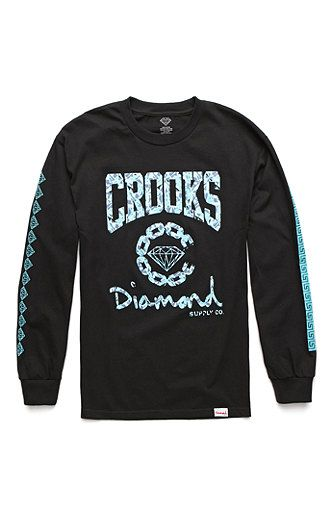 Diamond Supply Co x Crooks and Castles Logo Collab Long Sleeve T-Shirt