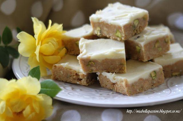 Mia Bella Passions:  Passionfruit & Pistachio Slice  #unbakedslice #baking