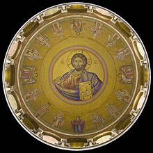 A view (directly overhead) of the Christ Pantocrator in the dome of the Church of the Holy Sepulchre, Old City of Jerusalem.  Christ Pantocrator - Wikipedia, the free encyclopedia