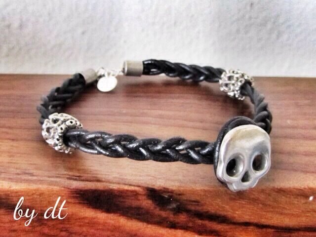 Ghost around, Black Leather with sterling silver #Skull