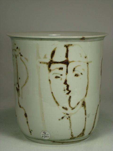 """Unique stoneware vase by Carl-Harry Stålhane. Faces painted with iron oxide. Incised: Designhusets logotype, Carl Harry Stålhane, X180 Height: 17 cm (6.7"""")"""