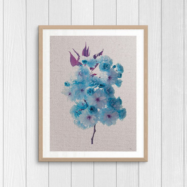 Blue Flowers - Nature Photography - Botanical Art - Printable Gift - Nursery Art - Kitchen Wall Decor - Blue Poster - Digital Download Art by Thestrangerboutique on Etsy