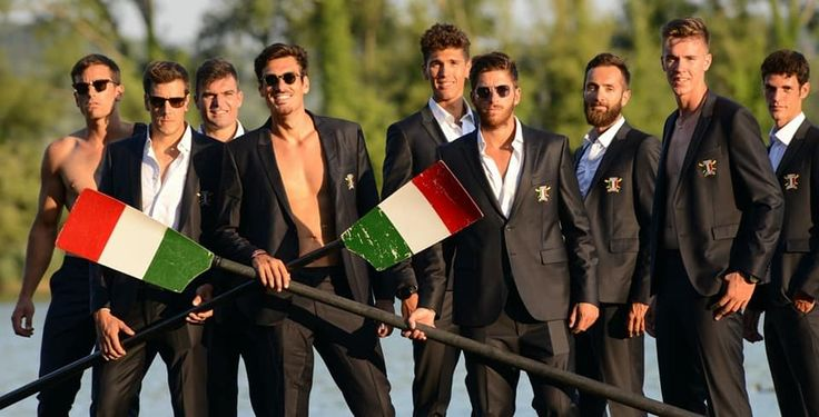 The Italian national rowing team wearing Carlo Pignatelli formal suits