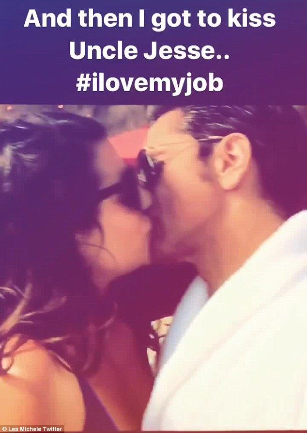 Steamy: Lea Michele shared a clip of herself smooching John Stamos during an episode of their show Scream Queens on her Twitter Tuesday