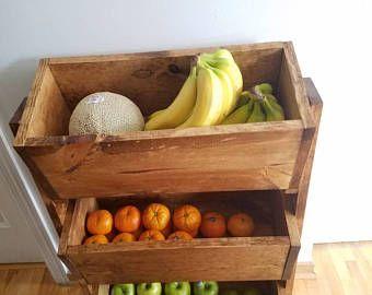 Producir patatas cebolla Bin, Inicio organización, soporte, granja decoración, estantes rústicos, plantador de la caja
