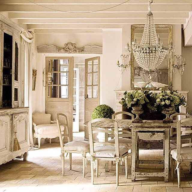 french country dining room fullbloomcottagecom - Country French Decor