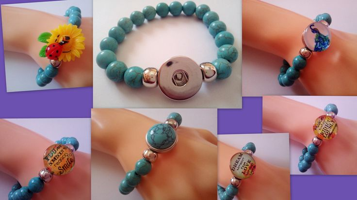 Natural Stone Turquoise Beads 18 20 mm Snap Button Socket Stretchable Bracelet