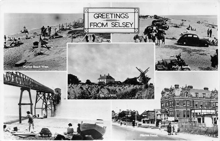 Chichester Selsey Greetings Marine Beach West Old Mill Auto Cars Multiviews 1951 | eBay