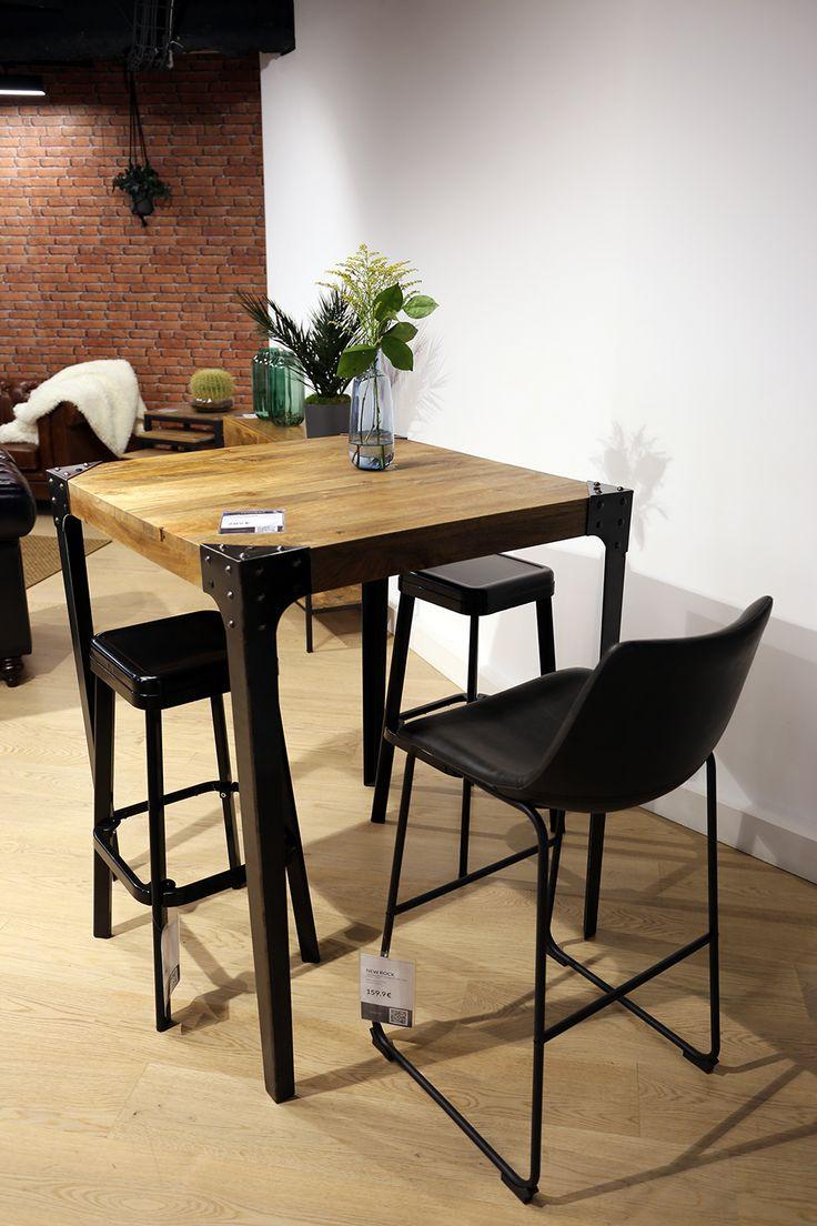 table haute industrielle carr e en bois et m tal madison. Black Bedroom Furniture Sets. Home Design Ideas