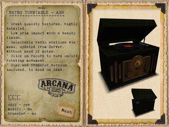 {A} Retro Turntable - Ash