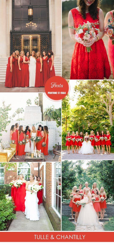 Pantone fiesta red bridesmaid dresses for spring summer weddings 2016