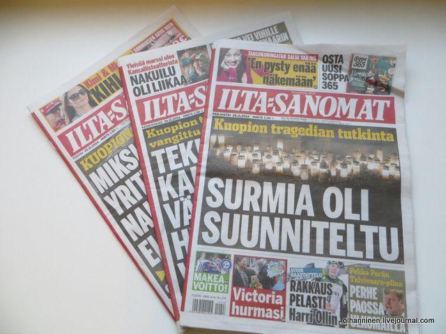 В течение месяца из одного небольшого финского города Куопио две новости об убийстве матерями своих детей. Может, кто-то объяснит, зачем эту тему поддерживают столько дней на первых полосах газет?