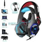 ﹩22.65. Beexcellent Gaming Headset Headphone with Mic LED for PS4 Xbox One Mac Blue   Microphone - Adjustable, Color - black-red, Driver diameter - 40mm, Cable length - 2.1m±0.15 Working current:≤50mA, Fit Design - Headband, Earpiece - Double, Mic dimension - 6.0 * 5.0mm, Earpiece Design - Ear-Cup (Over the Ear), Suitable for - PS4 Xbox One Mac PC iOS Android, Directivity - omnidirectional, Sensitivity - 105±3dB, Headset interface - 3.5mm + USB (USB for LED light), ISBN - Does not