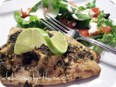 Blackened Mahi Mahi - spice, blacken, add cilantro and twist lime. Serve with lemon and choice salad or seared asparagus on side. Corona extra or a white Zinfandel to drink. No desert.