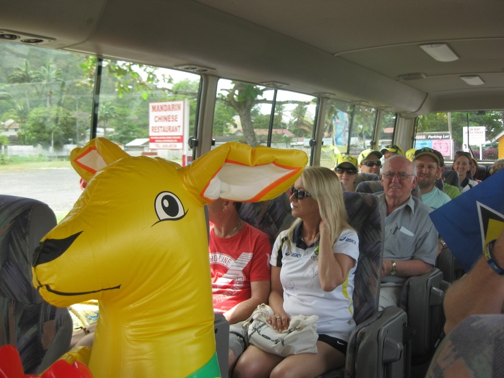 """Champ"" the Kangaroo on the team bus"