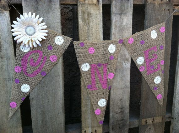2.00 Shipping.  XL Pennants ONE.... Baby Girl by BurlapGirl