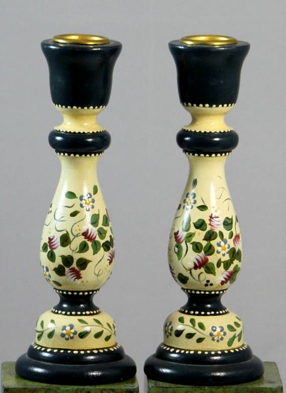 Painted Wood Candlesticks